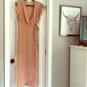 Peachy tan maxi wrap dress